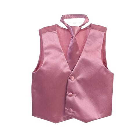 Little Boys Dusty Rose Three Button Satin Vest Tie 2 Pc Set