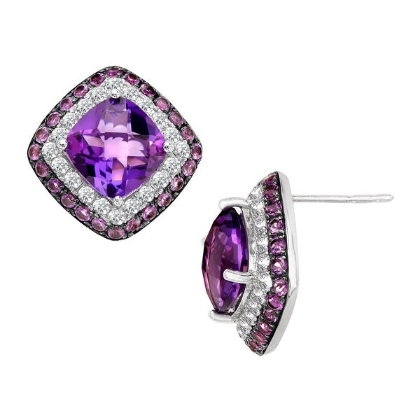 6 1/8 ct Natural Amethyst and Natural White Topaz Stud Earrings in Sterling Silver