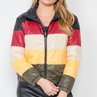 Multi Color Block Zip-Up Puffer Jacket