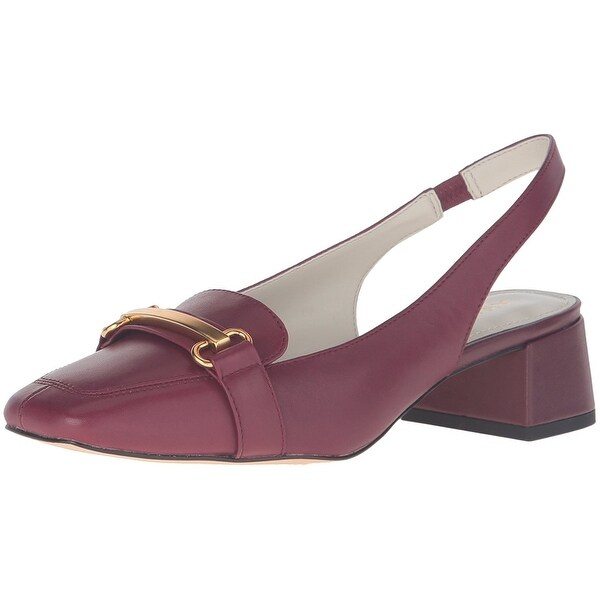 Anne Klein Womens Abbie Leather Square Toe SlingBack Classic Pumps