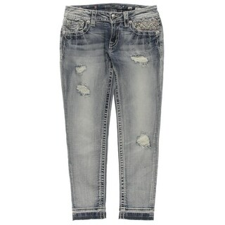 Miss Me Womens Cropped Jeans Denim Embellished