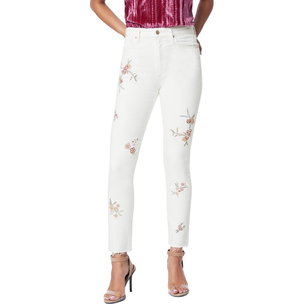 Joes Jeans Womens The Luna Cigarette Jeans High-Rise Embroidered - Honeysuckle