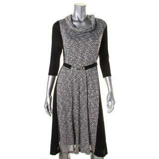 Signature By Robbie Bee Womens Petites Casual Dress Metallic Cowl Neck