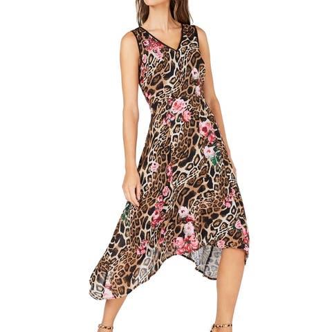 INC Women's Dress Brown Size 6 Sheath Leopard Floral V-Neck Midi