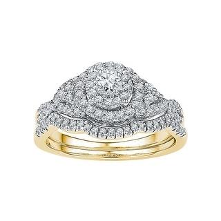 14k Yellow Gold Womens Natural Round Diamond Bridal Wedding Engagement Ring Band Set 5/8 Cttw - White
