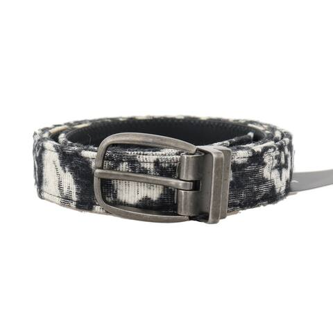 Dolce & Gabbana Black White Pattern Cotton Leather Belt