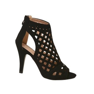 Adult Black In-Caged Cut Out Peep-Toe High Heel Sandals Women