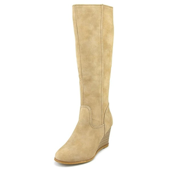 Famous Name Brand Library Women Round Toe Synthetic Tan Knee High Boot