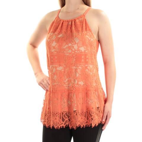 ALFANI Womens Orange Lace Sleeveless Halter Peplum Top Size 16