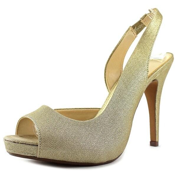 Lulu Townsend Nicola Women Peep-Toe Canvas Gold Slingback Heel