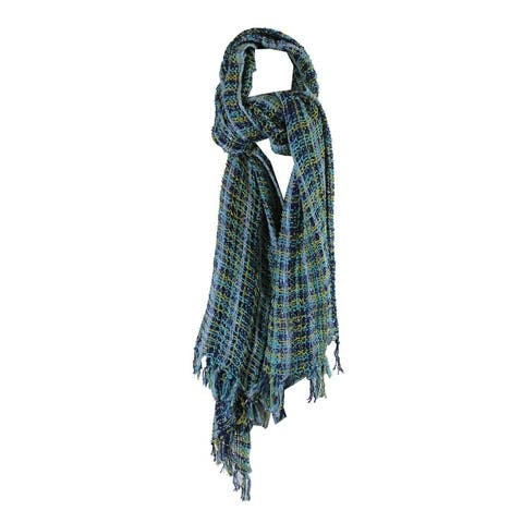 Collection Xiix Turquoise Lurex Woven Folk Wrap OS