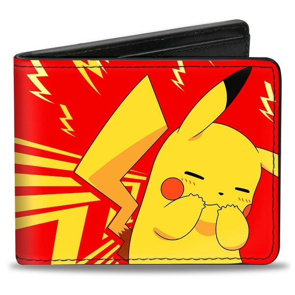 Pikachu Embarrassed Pose Rays Bolts Red Yellow Bi Fold Wallet - One Size Fits most