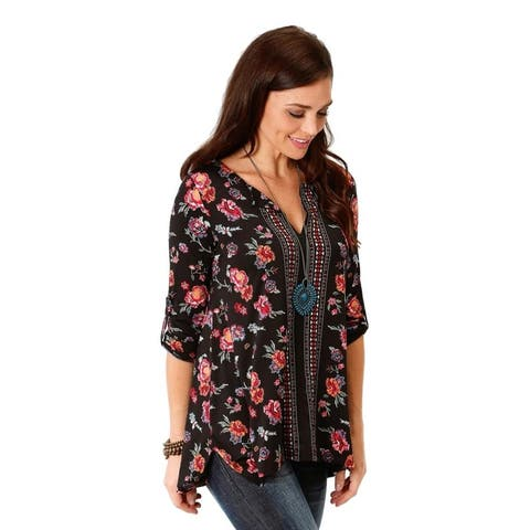 Roper Western Shirt Womens 3/4 Sleeve Tunic Black