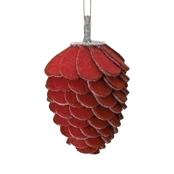 "4.75"" Winter Wonderland Red and Gray Felt Pine Cone Christmas Ornament"