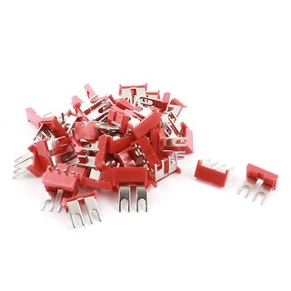 Unique Bargains 400V 10A 2P Red Insulated Electrical Terminal Jumper Fork Block Strip 50 Pcs