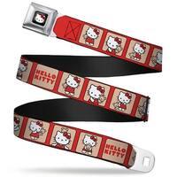 Hello Kitty W Red Bow Full Color Black Hello Kitty W Bear Blocks Red Tan Seatbelt Belt