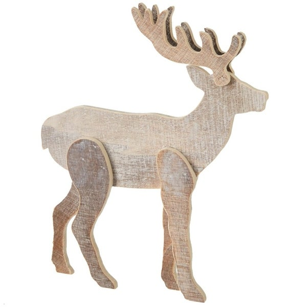 """10"""" Brown Two-Tone Rustic Reindeer Christmas Decoration"""
