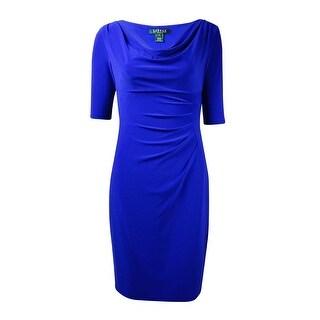 Lauren Ralph Lauren Women's Cowl Tucked Jersey Dress - deep azure (2 options available)