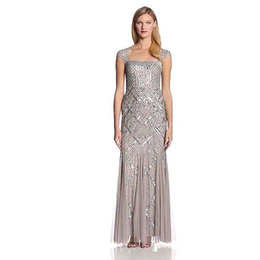 Shop Adrianna Papell Women's Cap-Sleeve Beaded Gown, Platinum, 6 - Platinum - Free Shipping Today - Overstock.com - 18848947