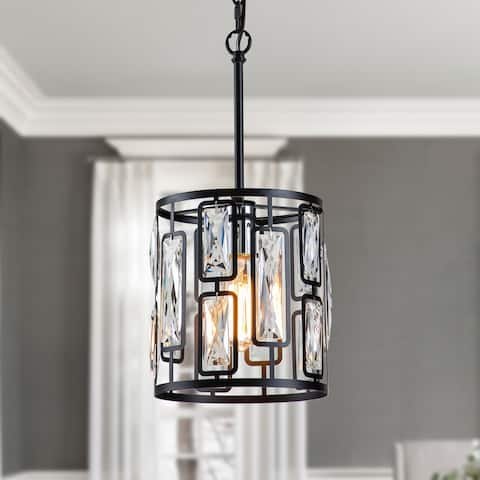 """1-Light Black Hanging Pendant Light with Clear Crystals - W8.75""""xL8.75""""xH17.75"""""""