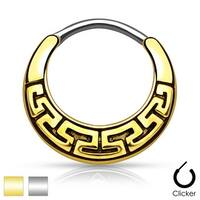 Maze Tribal Fan Design 316L Surgical Steel Round Septum Clicker (Sold Ind.)