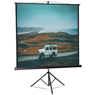 Costway 84'' Tripod Floor Stand Pull Up Projection Screen Adjustable Home Theater Office - White, black