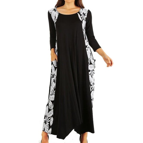 Funfash Plus Size Women Black White Floral Long Sleeve Maxi Long Dress