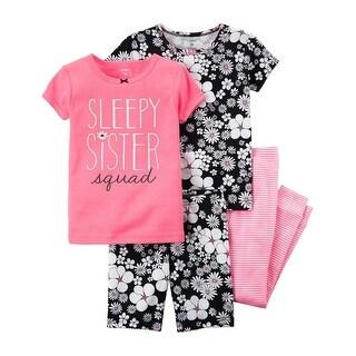 Carter's Baby Girls' 4-Piece Neon Snug Fit Cotton PJs, Pink/Black, 24 Months