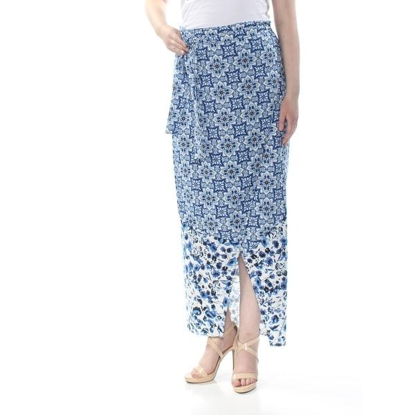 RACHEL ROY Womens Blue Wrap Nordic Maxi Evening Skirt Size: 14