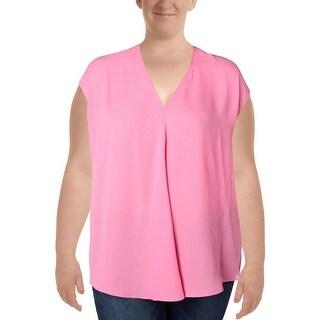 Ralph Lauren Womens Plus T-Shirt Cap Sleeves V-Neck