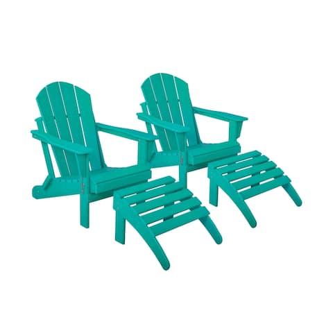 Laguna Folding Adirondack Chairs with Ottoman Set