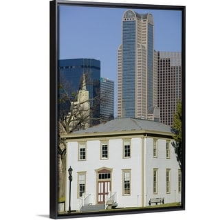 """Skyscrapers behind an old house, Old City Park, Dallas, Texas"" Black Float Frame Canvas Art"