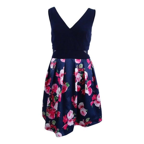 3700a62f5d51b Shop Xscape Women s Plus Size Illusion Floral-Print Fit   Flare Dress -  Navy - Free Shipping Today - Overstock - 22990229