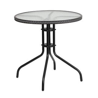 Skovde Round 28'' Tempered Glass Metal Table Gray Rattan Edging for Patio/Bar