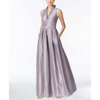 Jessica Howard NEW Silver Women 16 Ruffle V-Neck Belted Prom Gown Dress