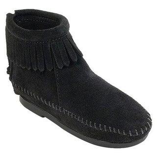 Minnetonka Children's Back Zipper Boot Hardsole Black Suede