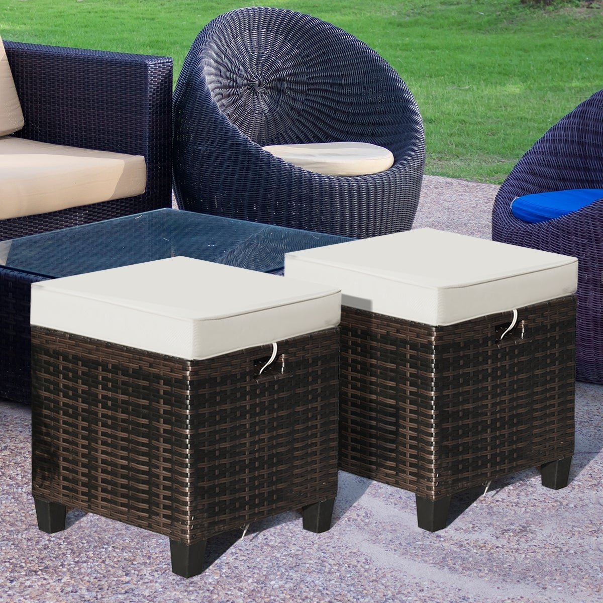 Costway 2pcs Patio Rattan Ottoman Cushioned Seat Foot Rest Coffee On Sale Overstock 30243915