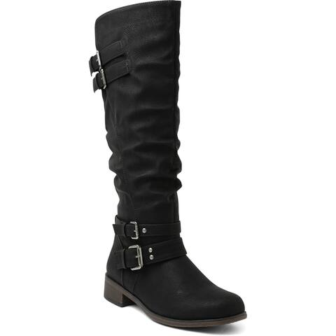 XOXO Womens Motorcycle Boots Wide Calf Studded - Black - 5.5 Medium (B,M)