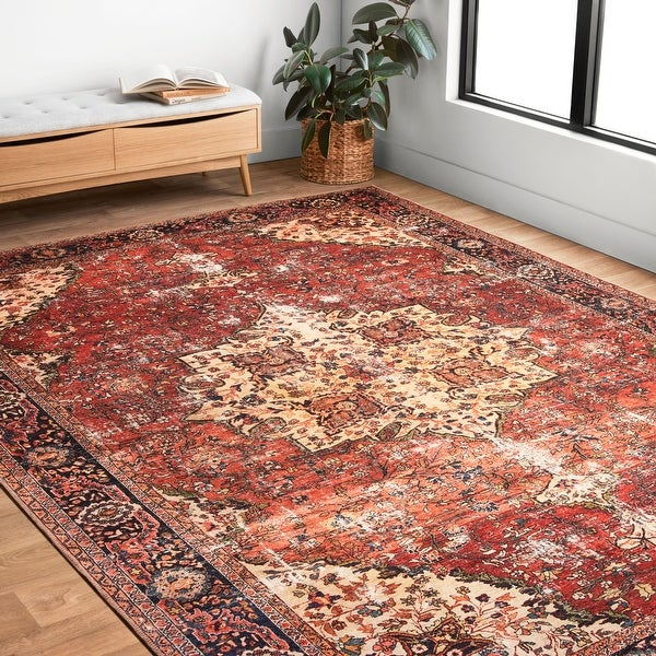 Alexander Home Tremezzina Printed Distressed Medallion Area Rug. Opens flyout.