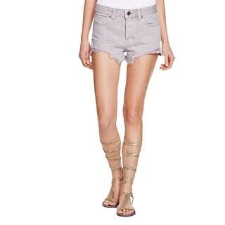 Free People Womens Denim Shorts White Wash Frayed Hem