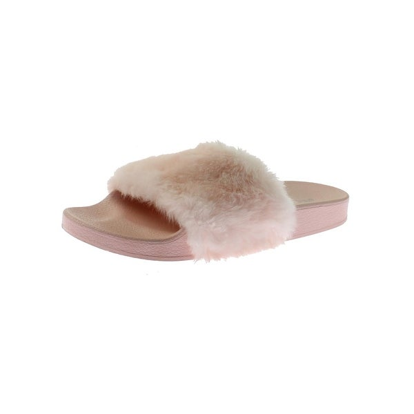 c778a5cac71 Shop Steve Madden Womens Softey Slide Sandals Faux Fur Pool - Ships ...