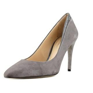 Delman Delux Women Pointed Toe Suede Gray Heels