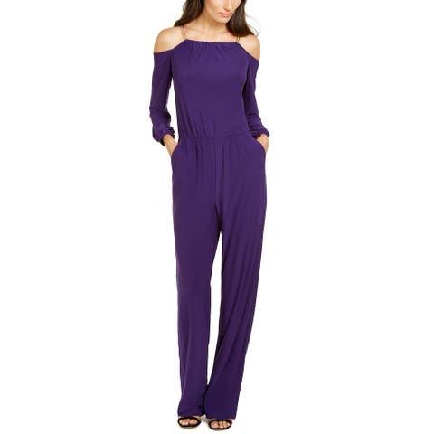 NY Collection Women's Petite Chain-Link Jumpsuit Purple Size Medium