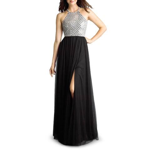 Basix Black Label Womens Evening Dress Embellished Open Back - Black/Silver