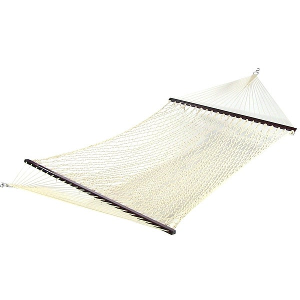 Sunnydaze Cotton Double Wide Rope Hammock with Spreader Bar