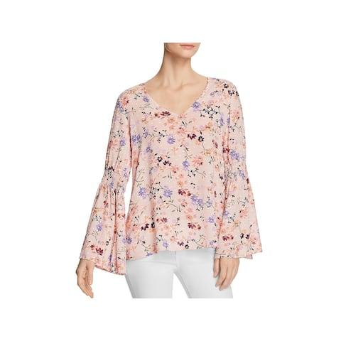 Cupio Womens Pullover Top Floral Print Bell Sleeves