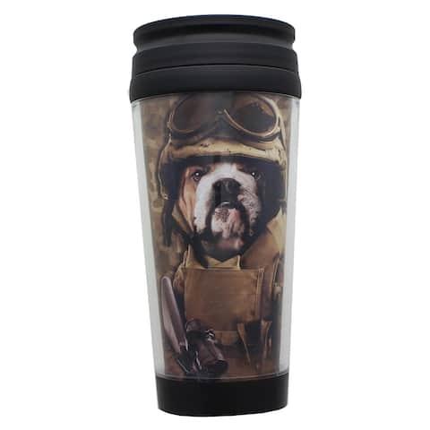 Combat Sam 16oz Plastic Travel Mug - Brown