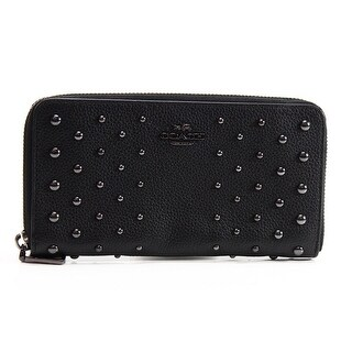 Coach NEW Black Pebble Leather Ombre Rivets Accordion Zip Wallet Clutch