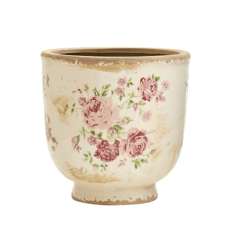 "7.5"" Tuscan Ceramic Floral Print Planter"