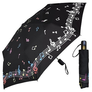 Women's Fashion Umbrella - Color Changing Musical Notes - Compact Folding Travel